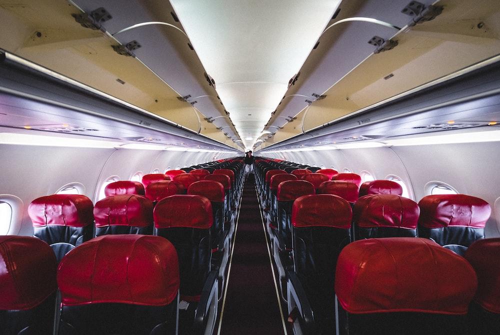 black airplane seats