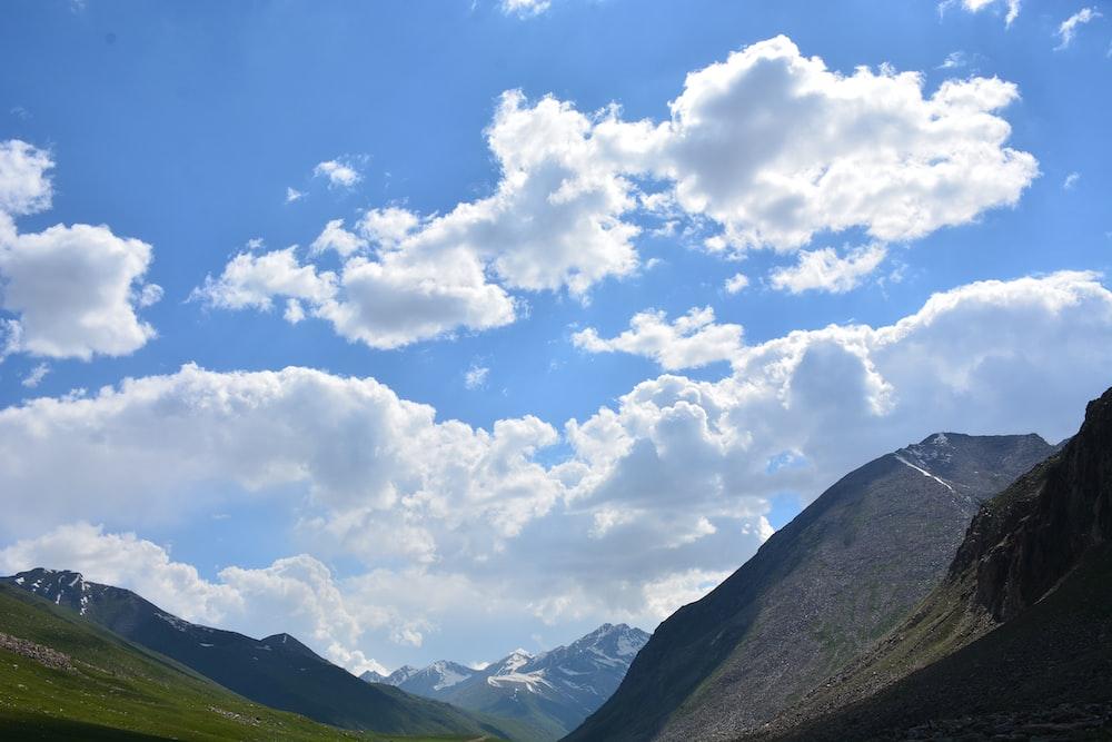 mountain under white sky
