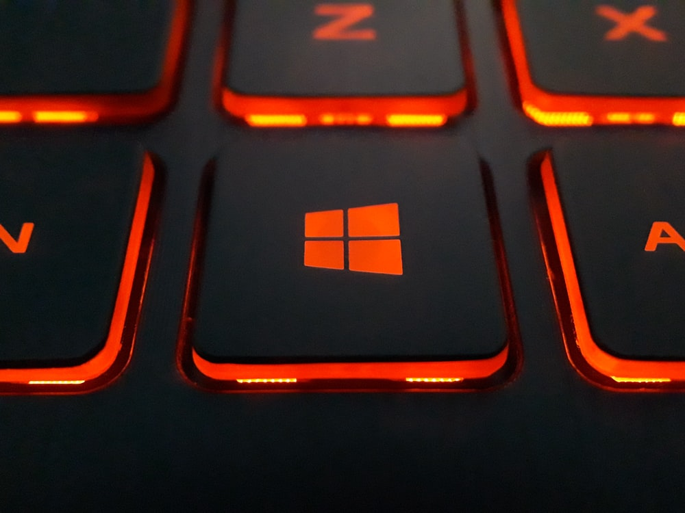 Microsoft button with red light keyboard
