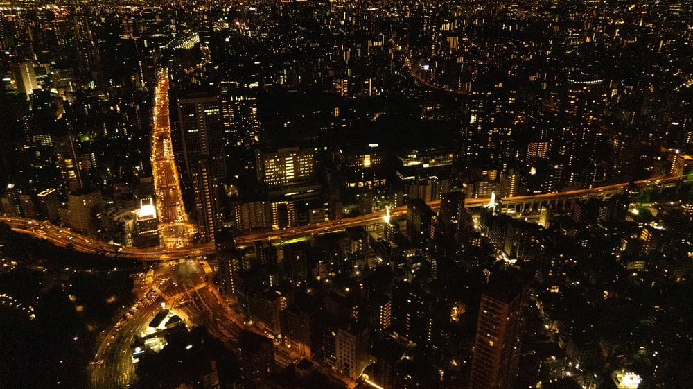 aerial photography of city with lights