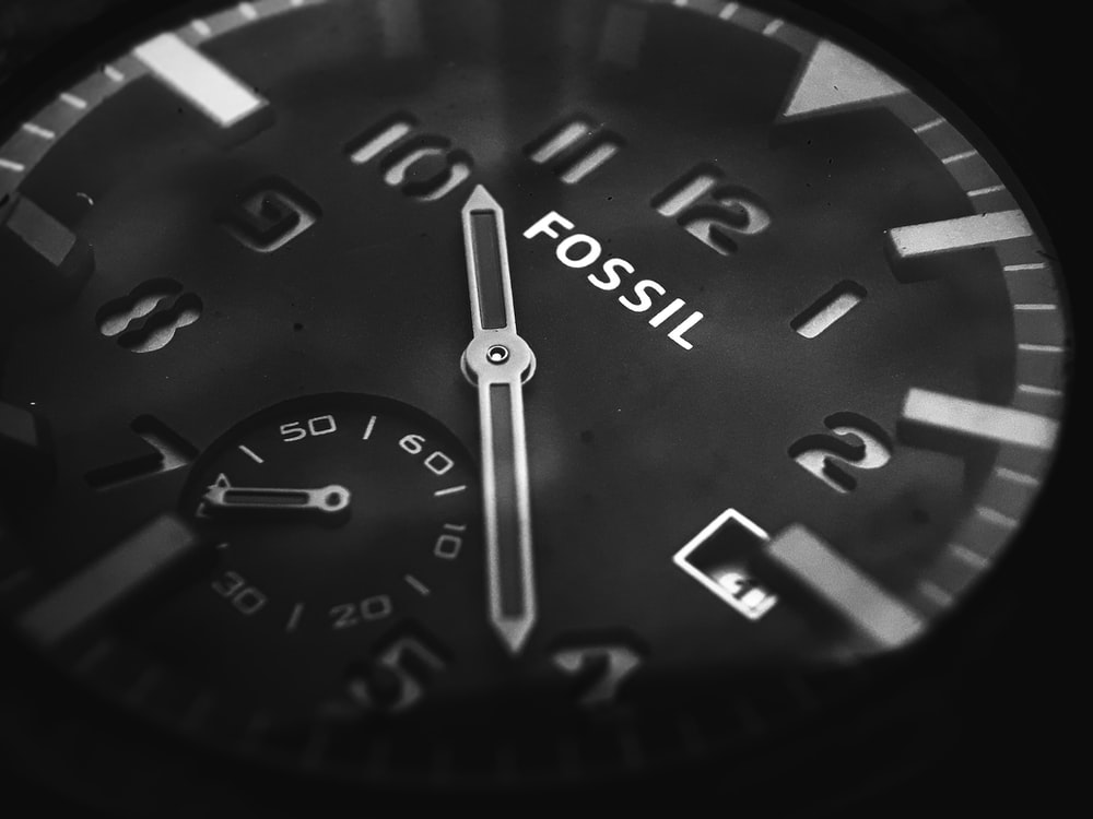 round black Fossil chronograph watch