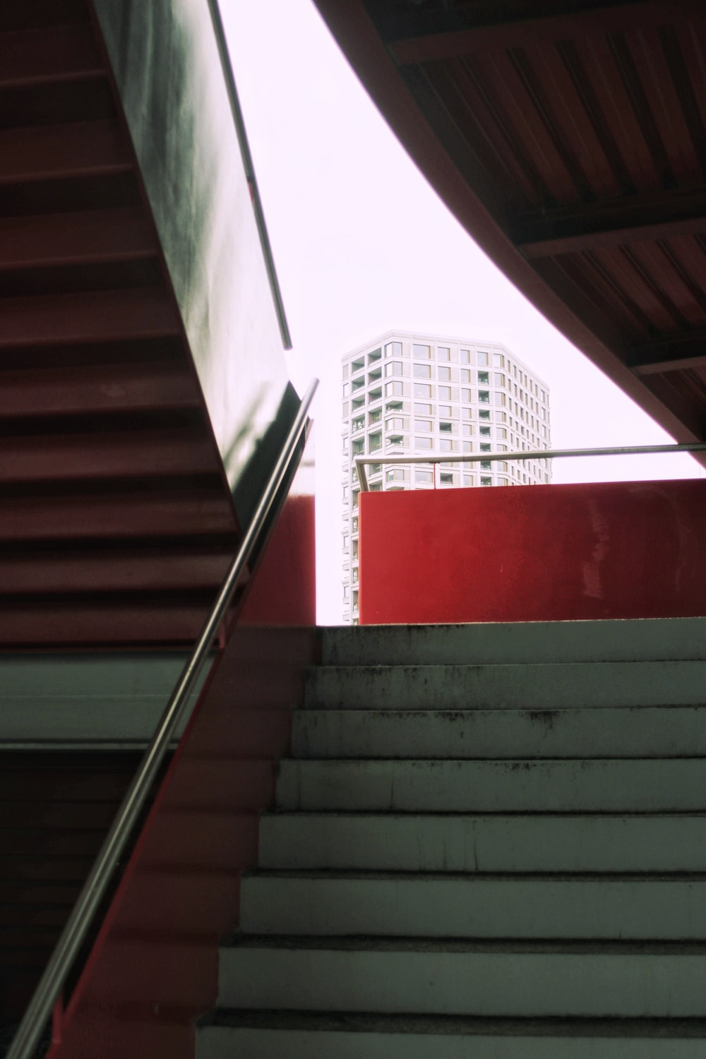 gray and red stairs