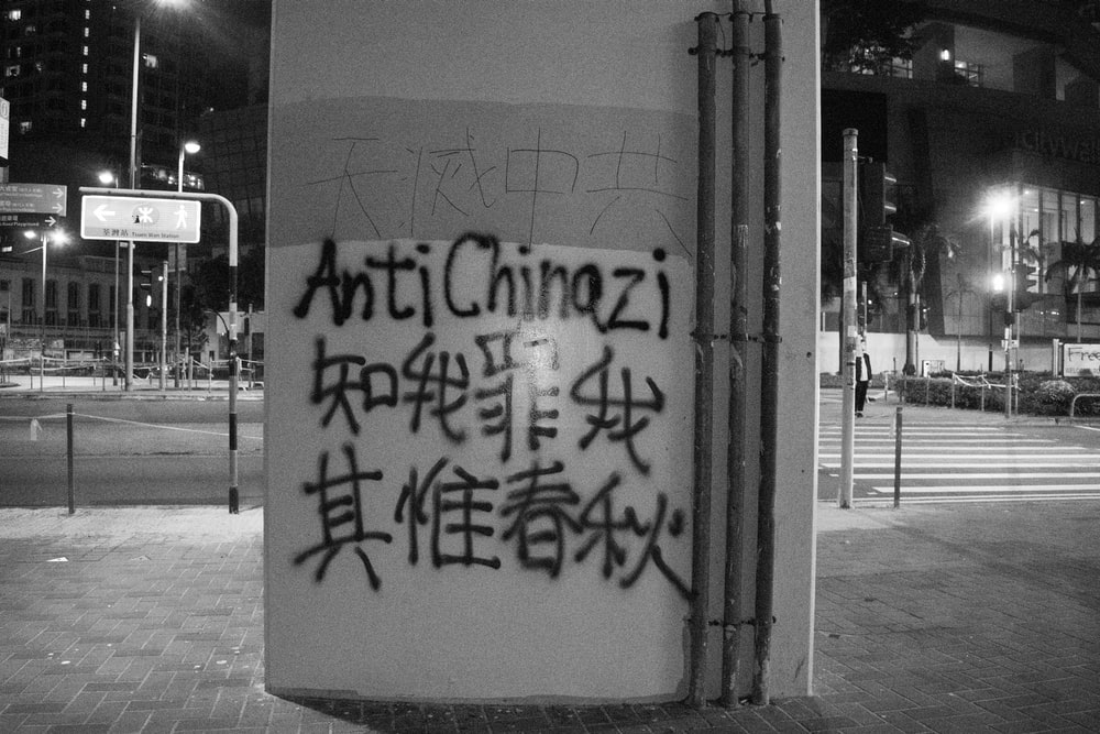 grayscale photography of Anti Chiazi sprayed texts on wall