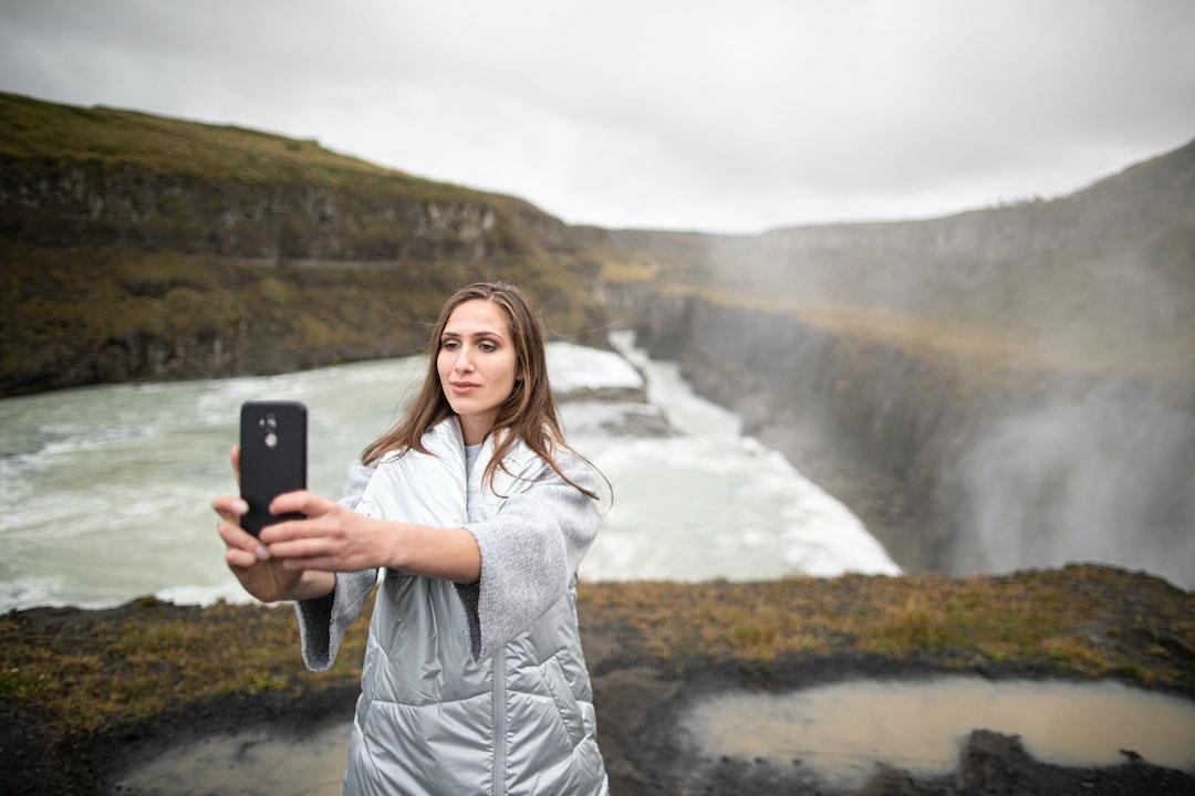 Iceland waterfall selfie,