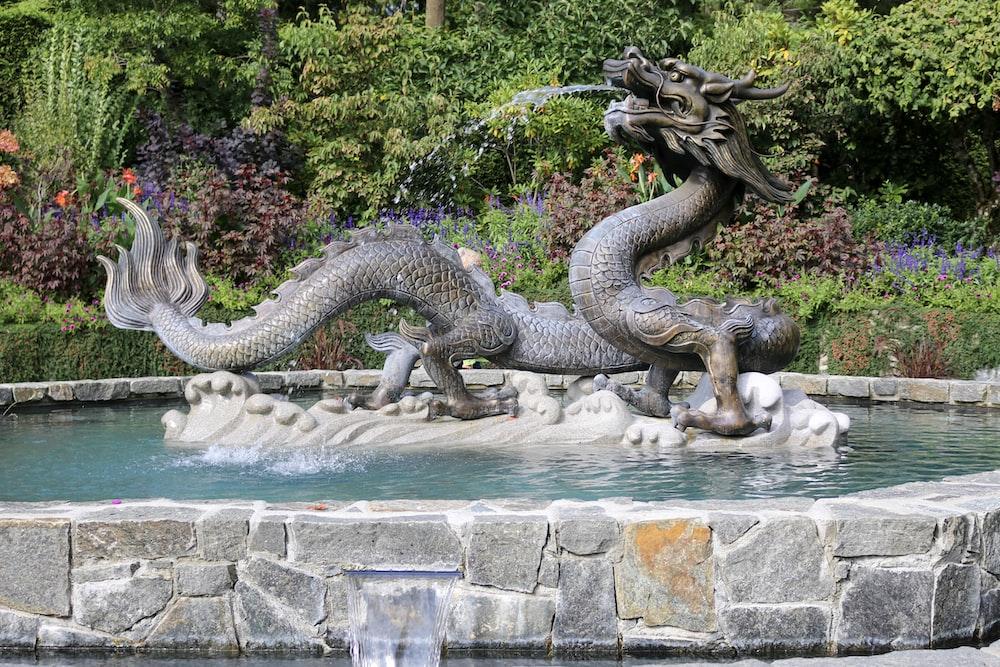 grey dragon water fountain