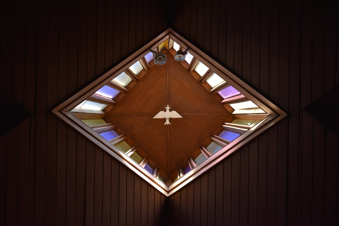 A depiction of the Holy Spirit as a dove above our sanctuary.