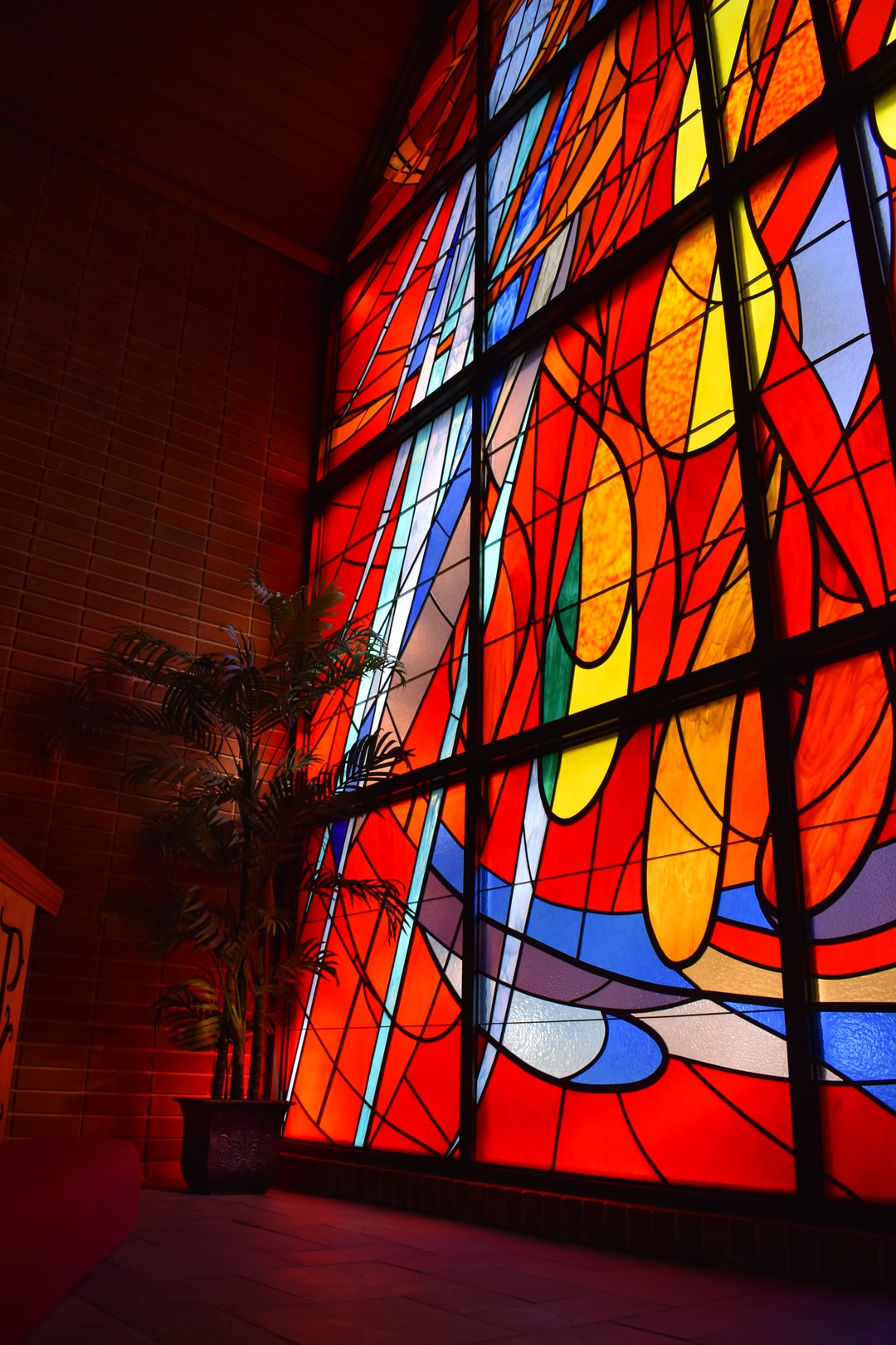 Stained-glass w/plant.