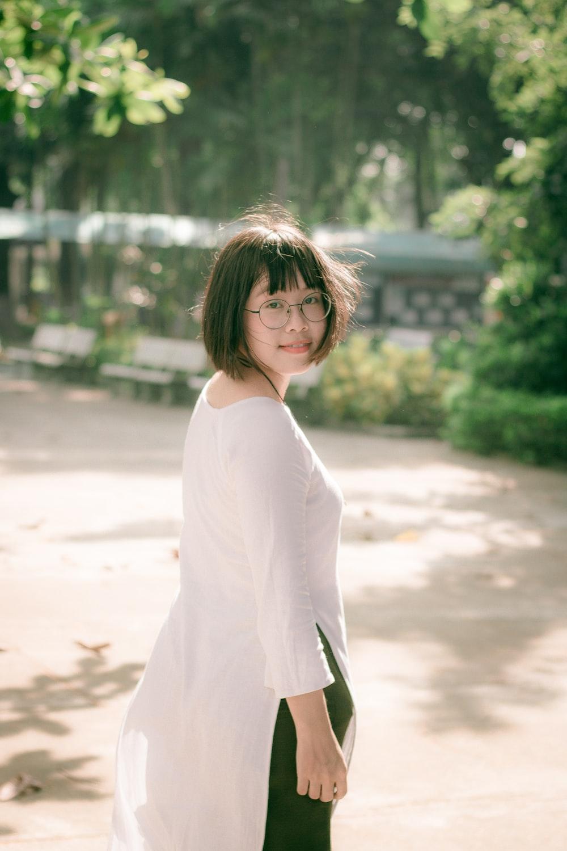woman wearing white top