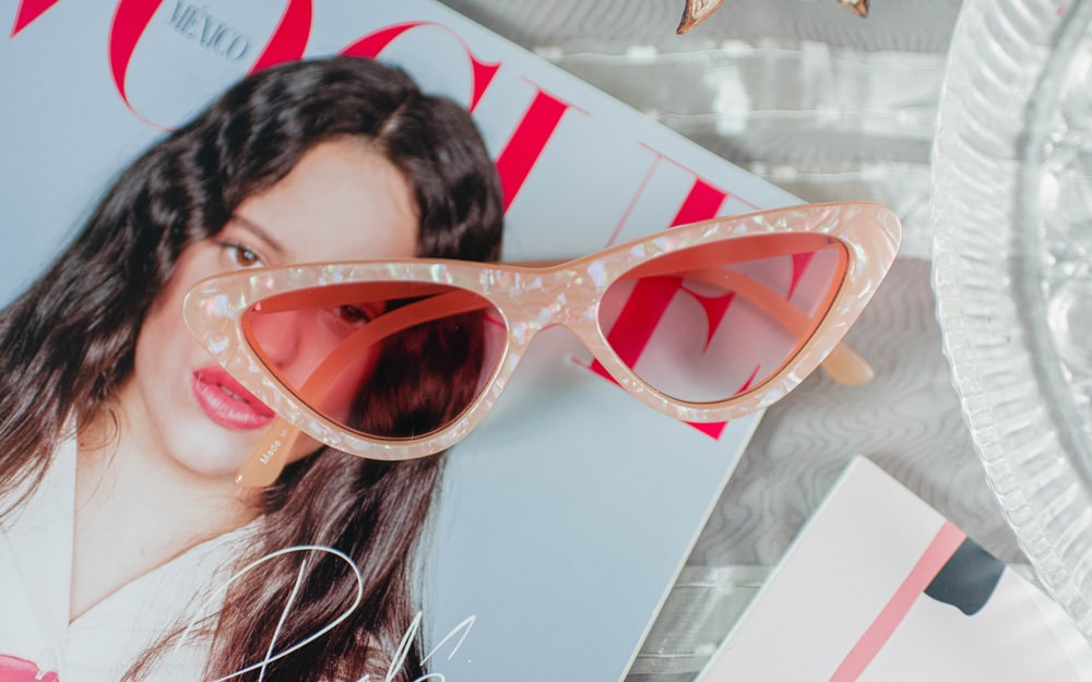 pink framed cateye sunglasses