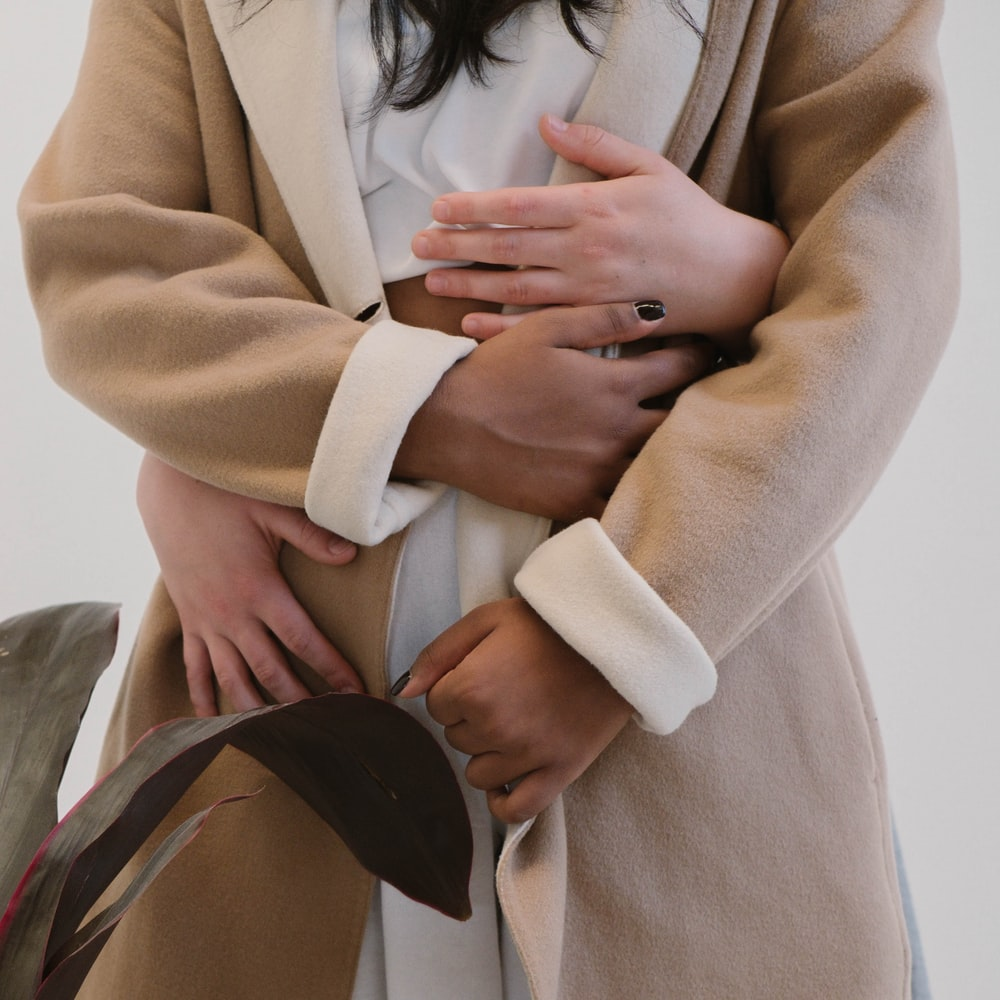 brown and white jacket
