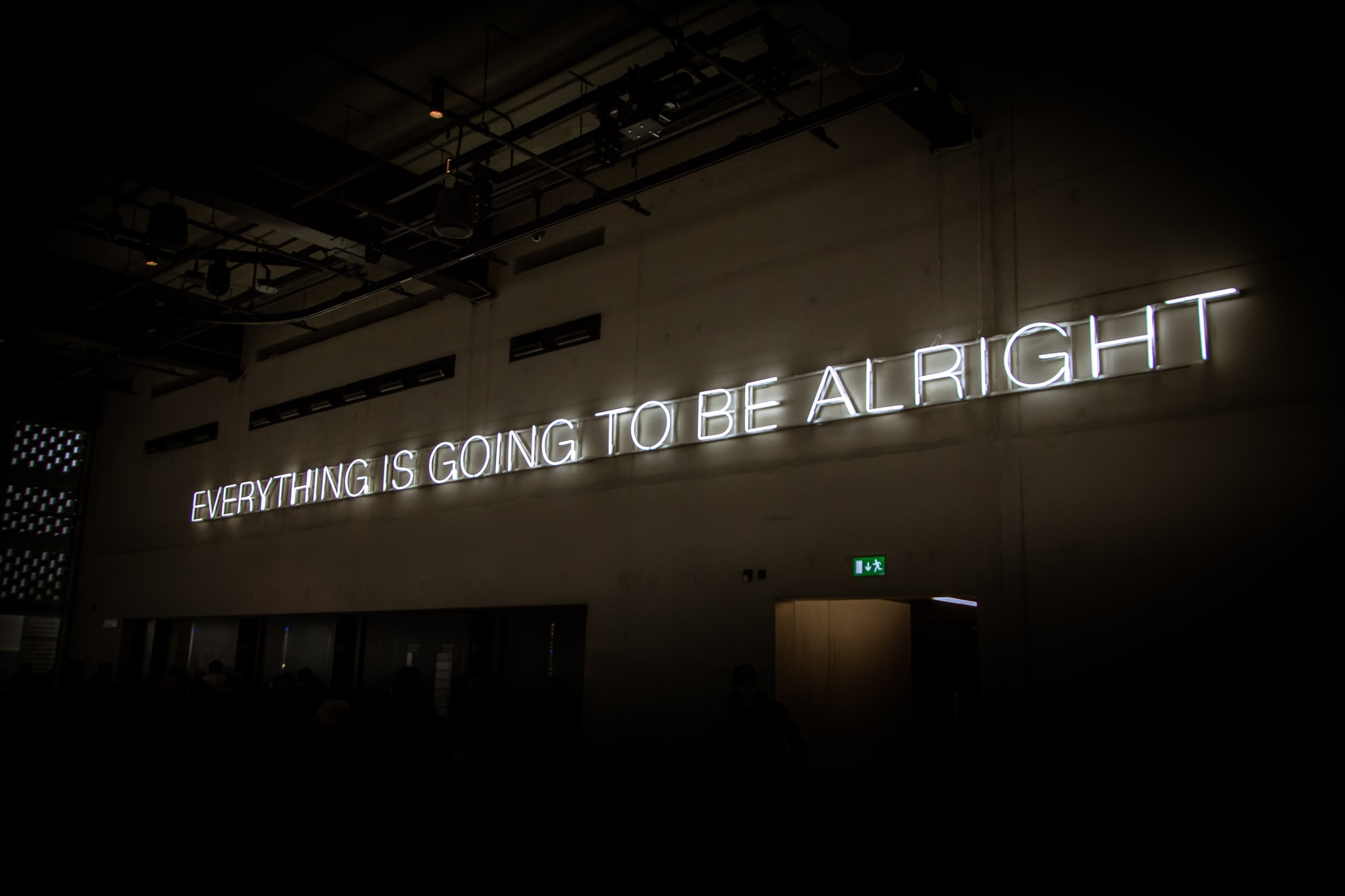 neon sign that reads 'everything is going to be alright'