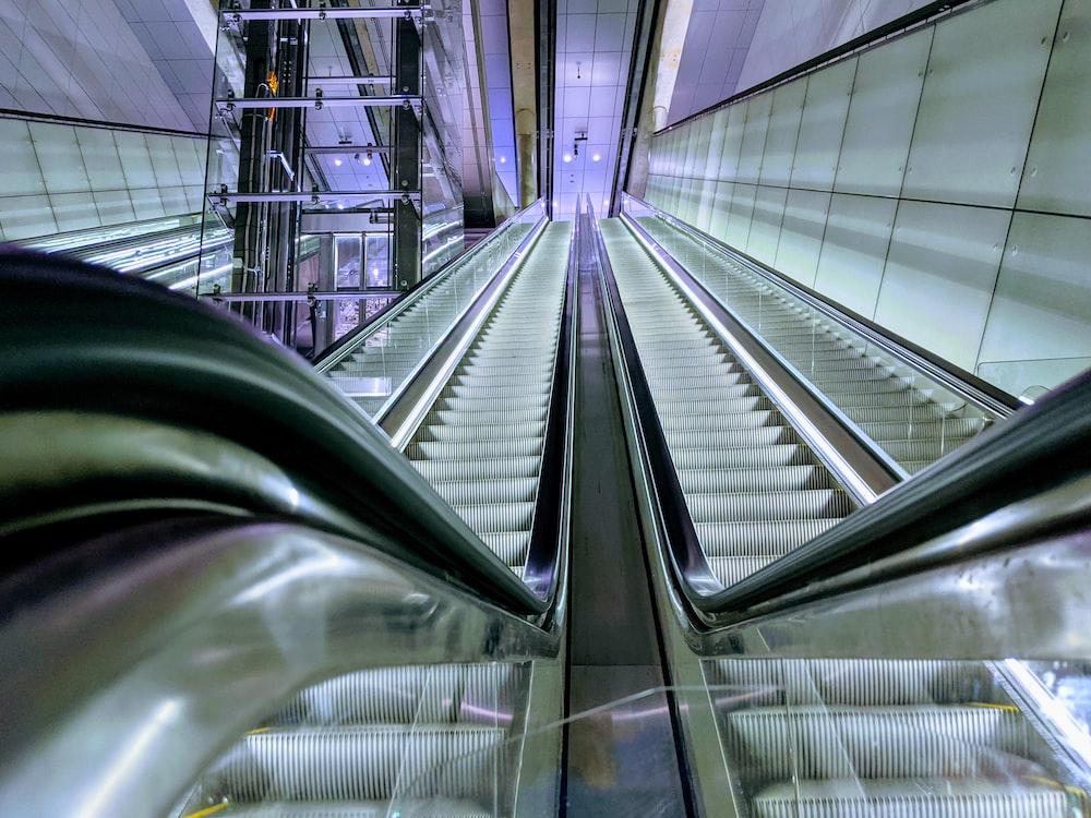 two escalators between wall