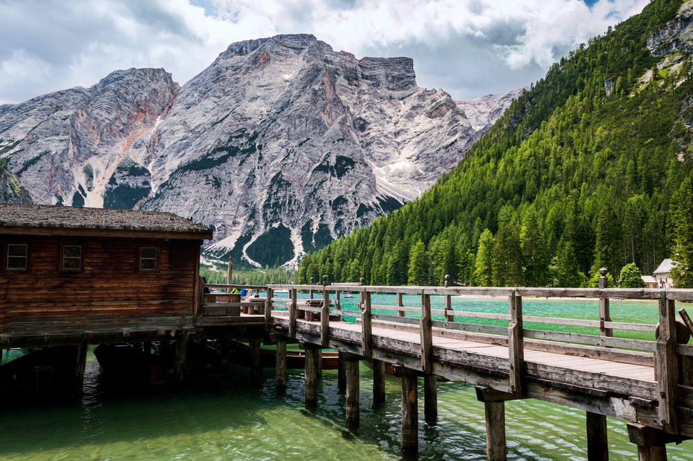 wooden shack on lake