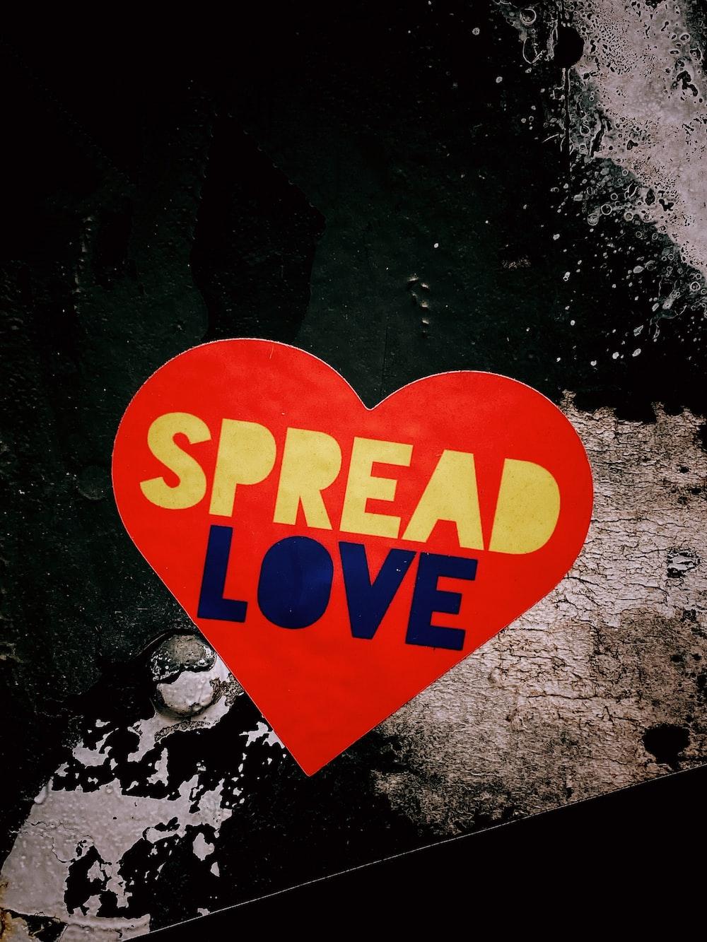 spread love heart red sticker