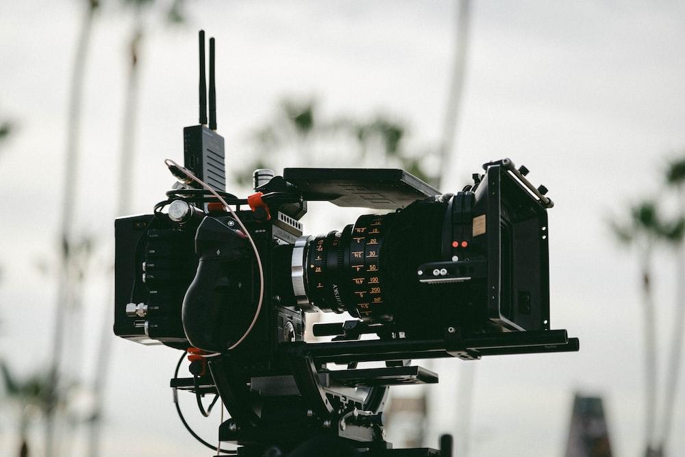 black professional video camera