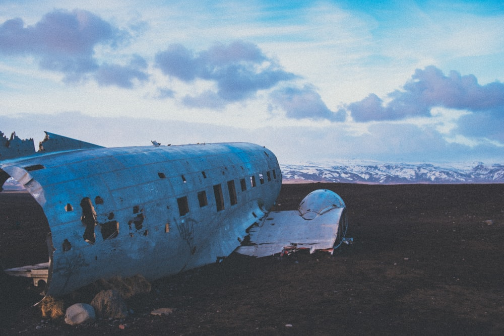 plane wreck on sand