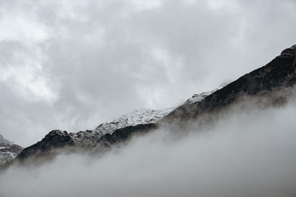 mountains surrounded with fogs