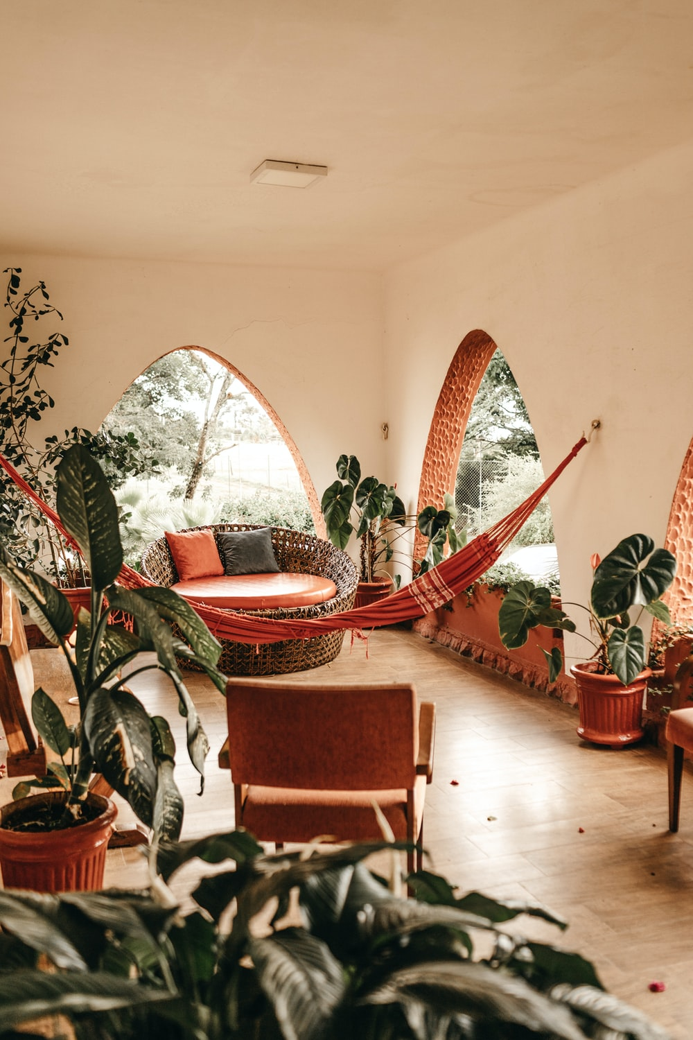 red hammock hanging in the living room