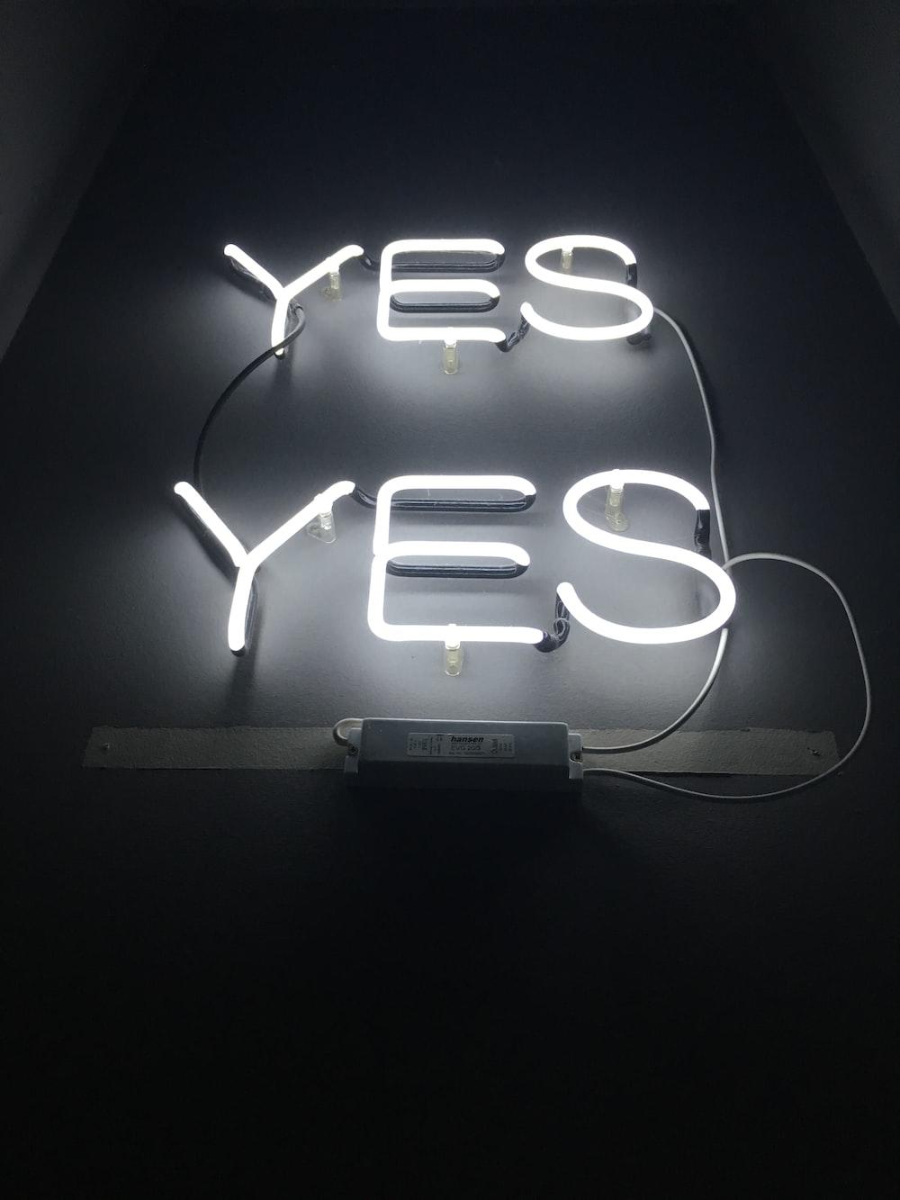 white yes LED signages