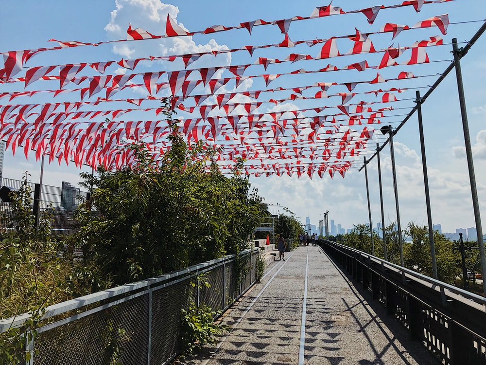 red and white buntings on street