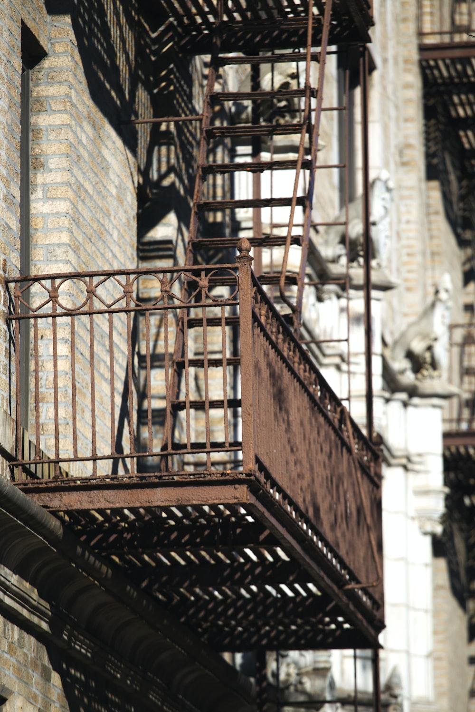 brown metal emergency exit stairs