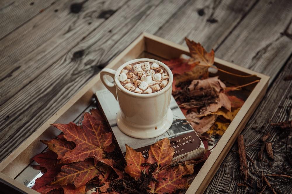 beige mug on gray tray