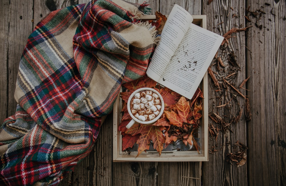book on brown wooden tray beside blanket