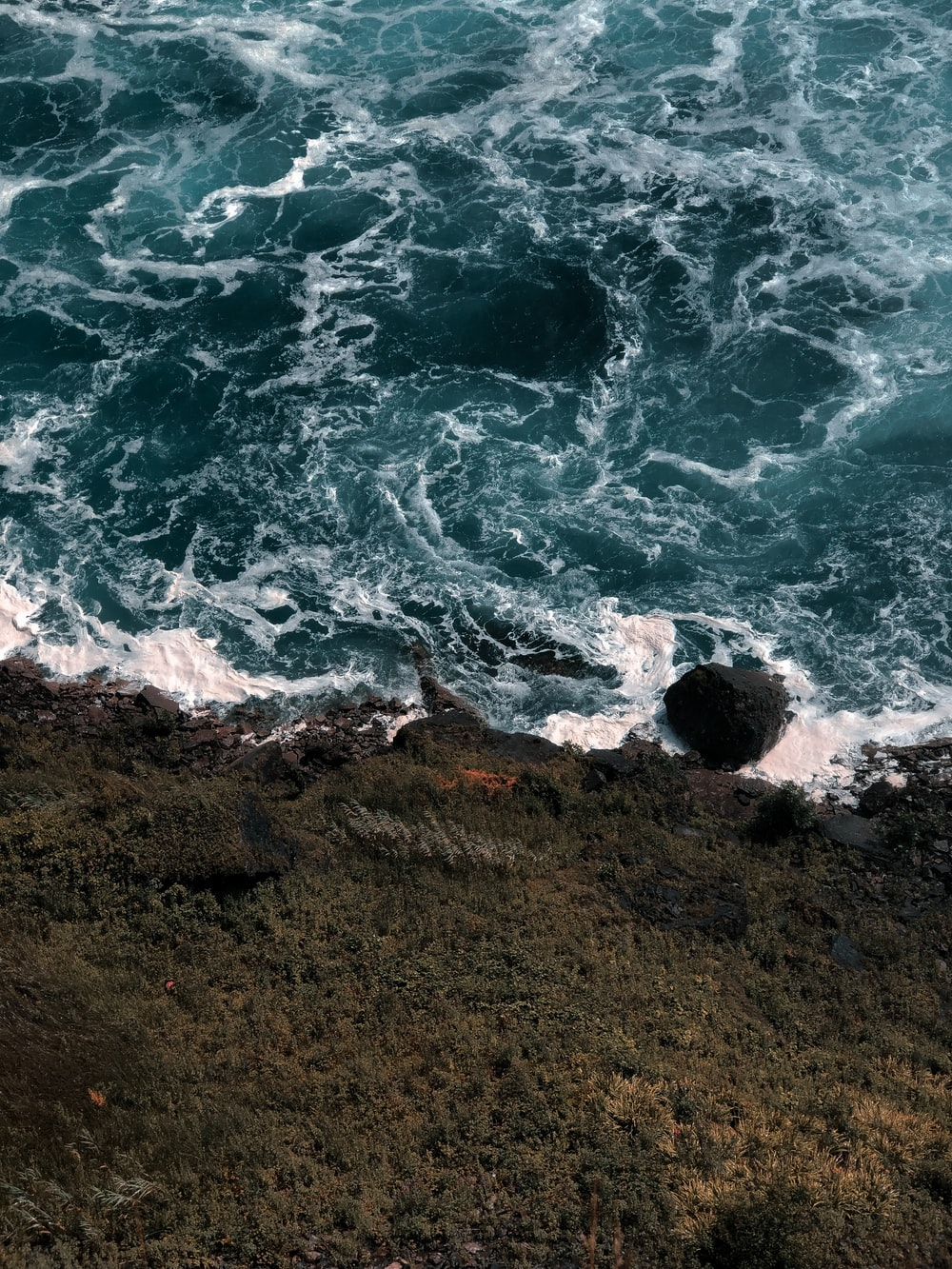 bird's-eye view photo of water