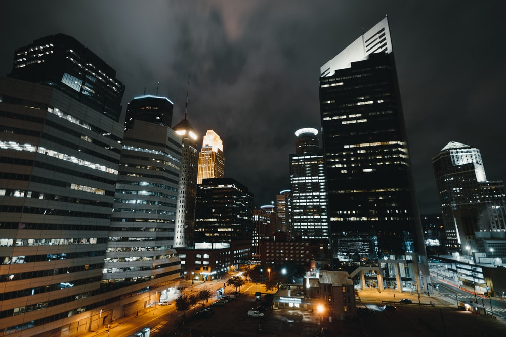 city high-rise buildings at night