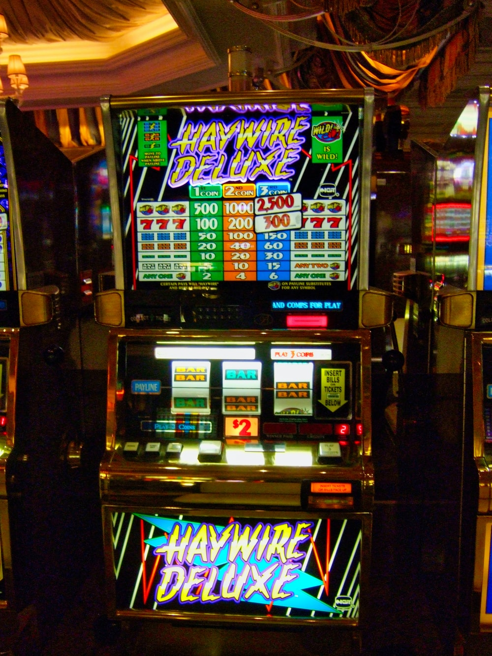 silver and black Haywire Deluxe slot machine