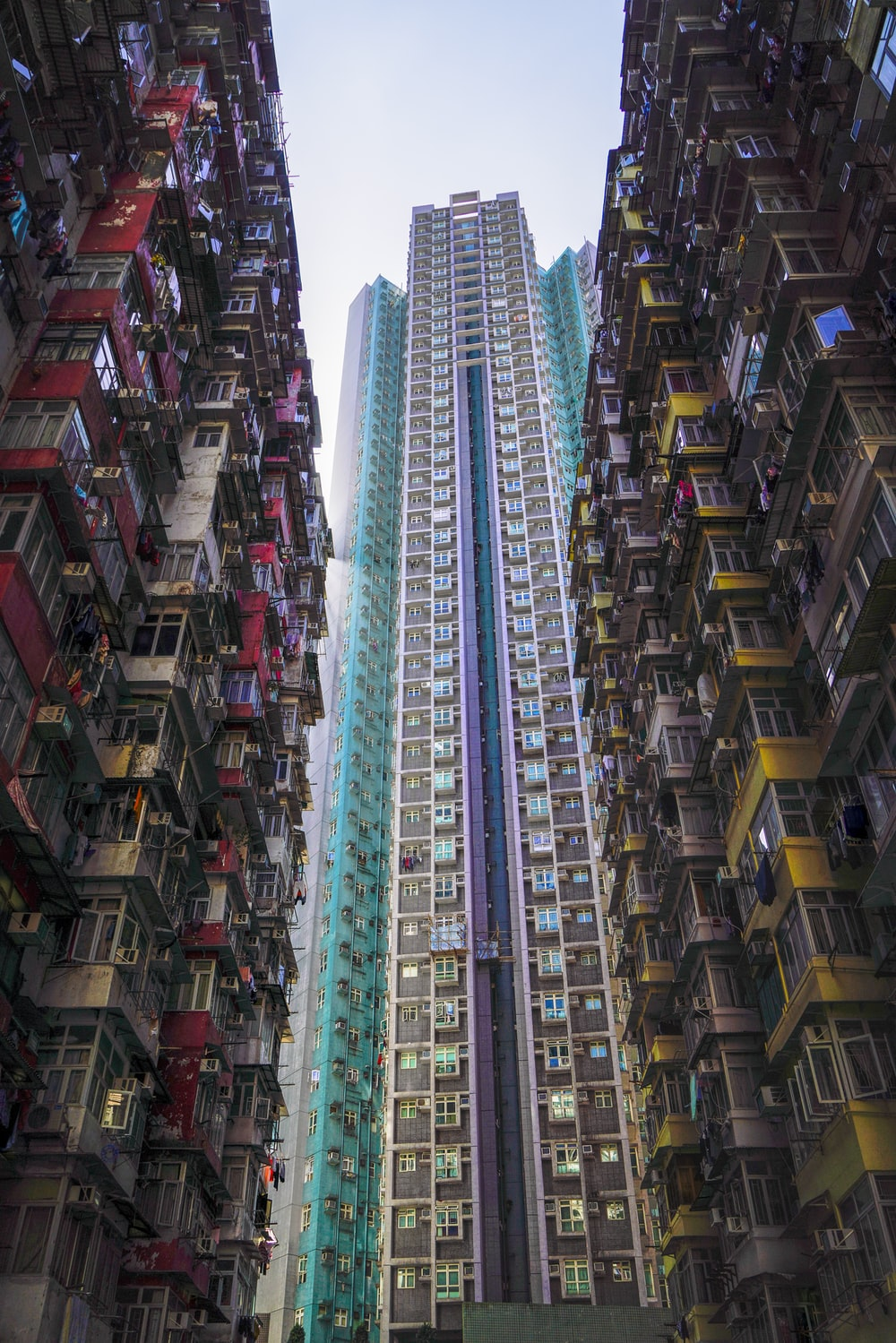 low-angle photograph of high-rise buildings