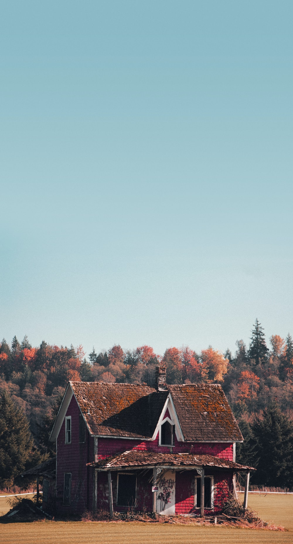 red and brown house