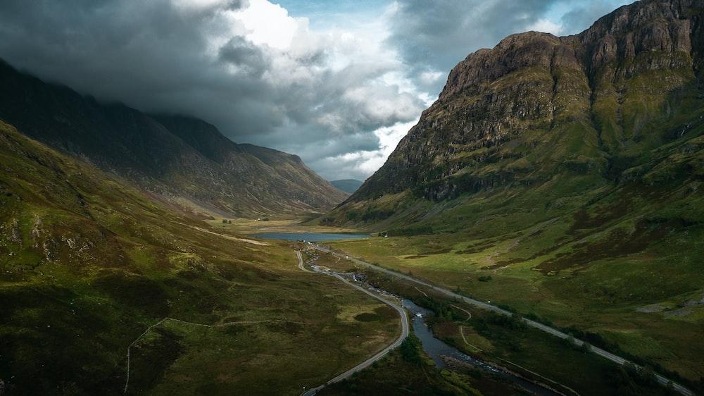 two roads beside river