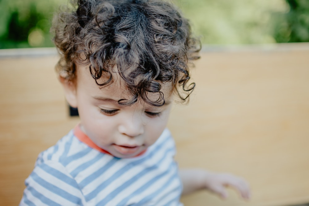 toddler's pink and gray striped shirt