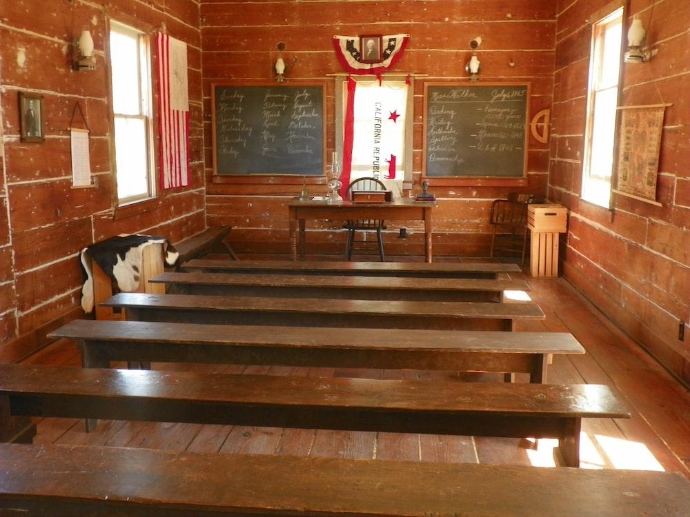 brown wooden desk inside room