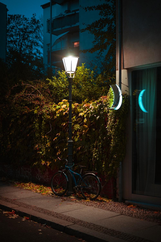 parked bike on light post
