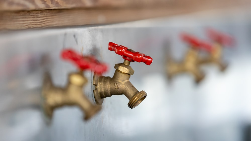 two brown faucets
