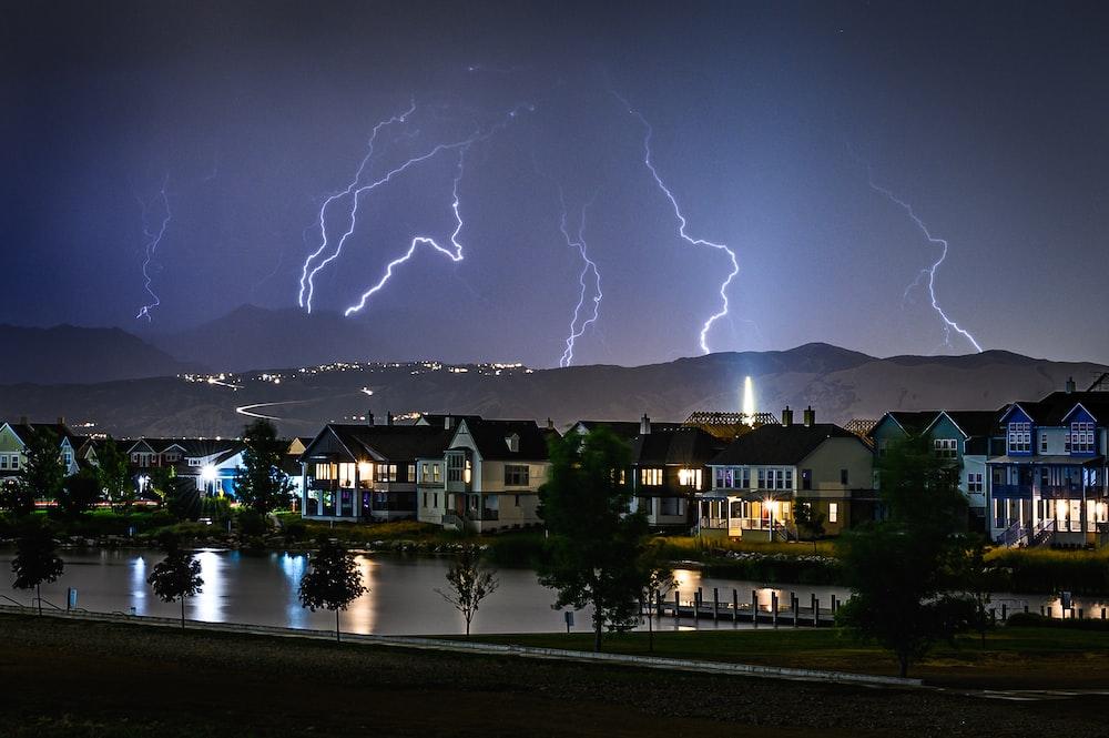 lightning striking land