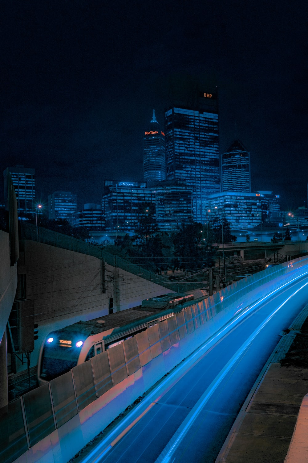 grey and blue train photograph
