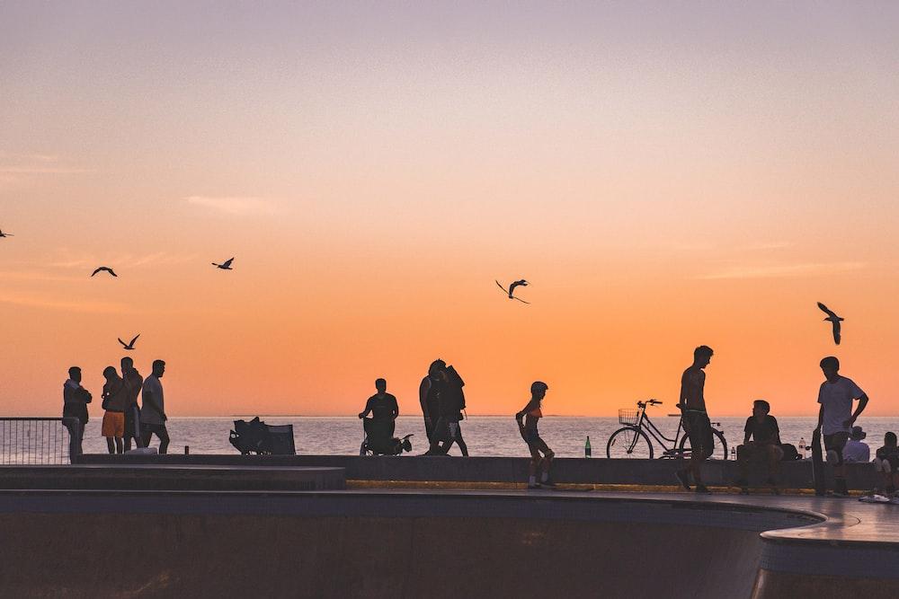 skateboarders in park near seashroe
