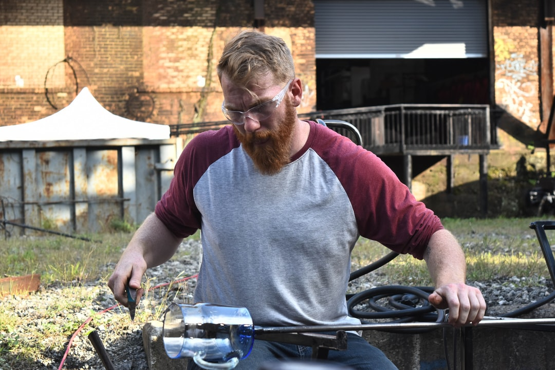 Glass blowing at the Carrie Blast Furnaces.