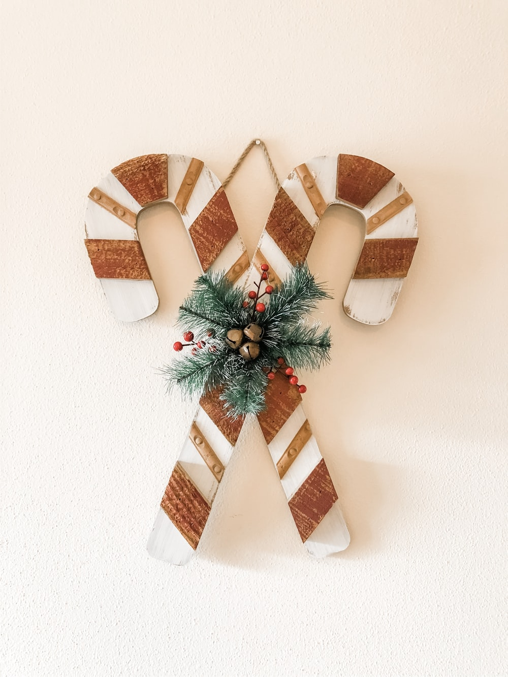 brown-and-white striped candy cane decors