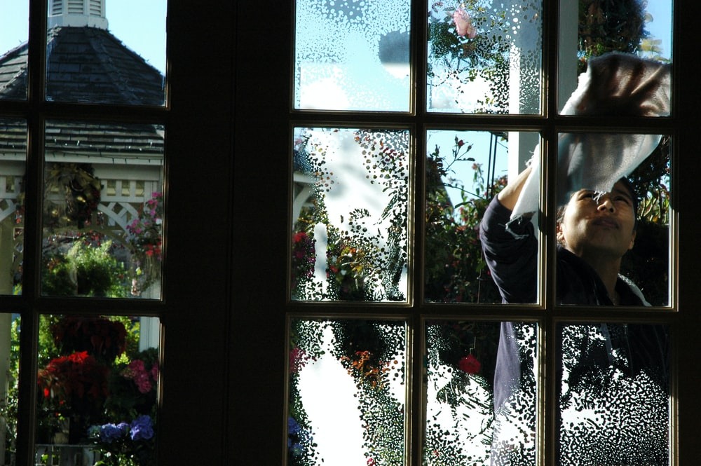 brown window glass frame
