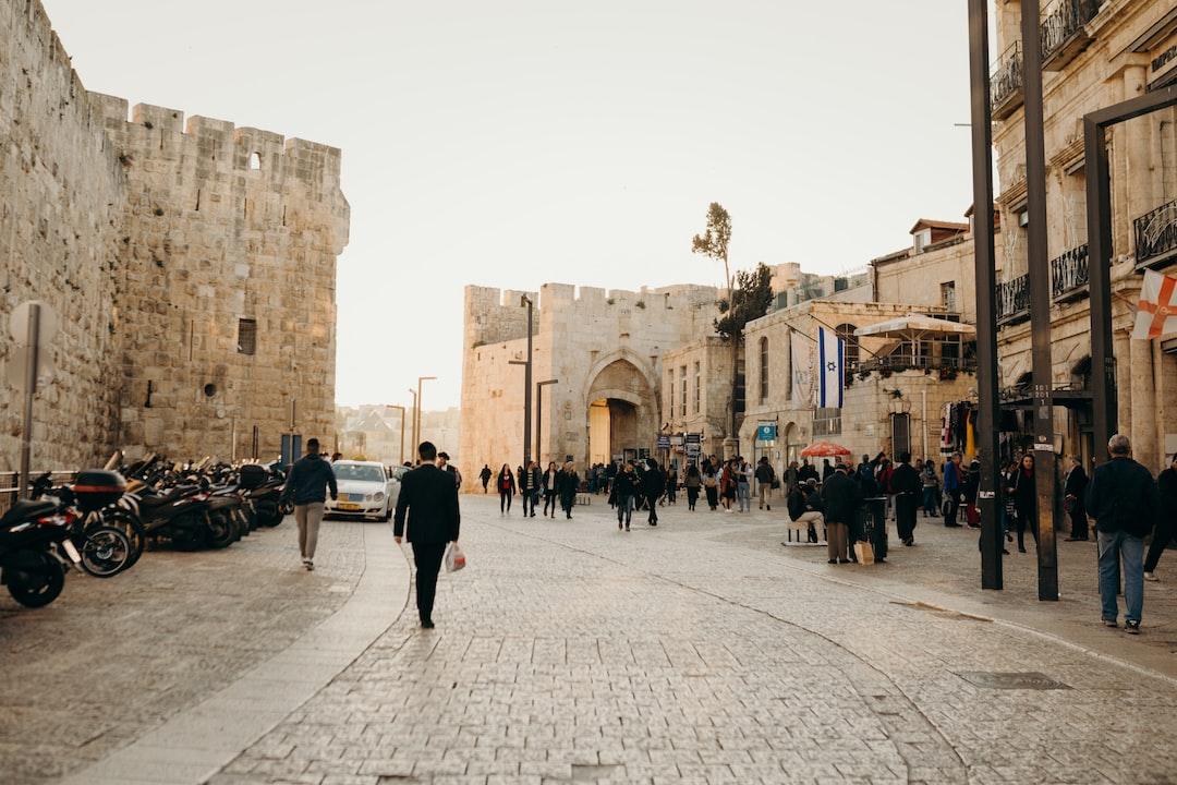 Beautiful sunset at the Jaffa Gate, Old City, Jerusalem.