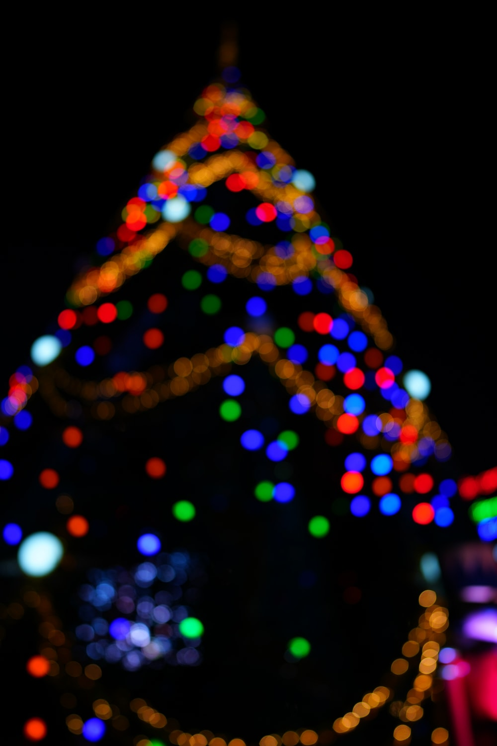 selective focus photo of Christmas tree with turned-on string lights