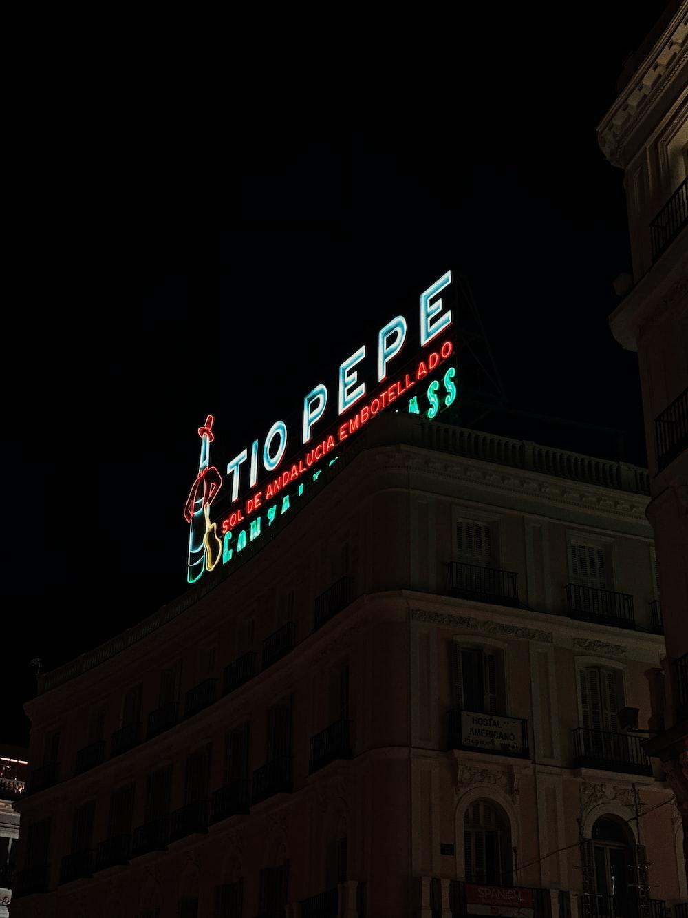 Tio Pepe signage at night