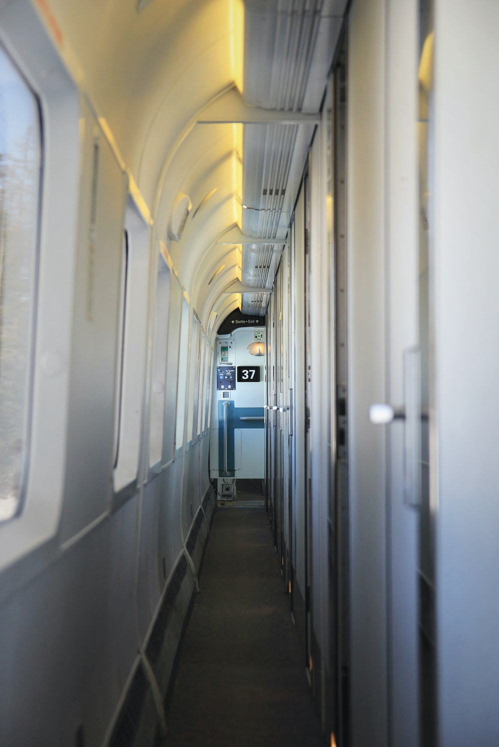 train hallway beside window