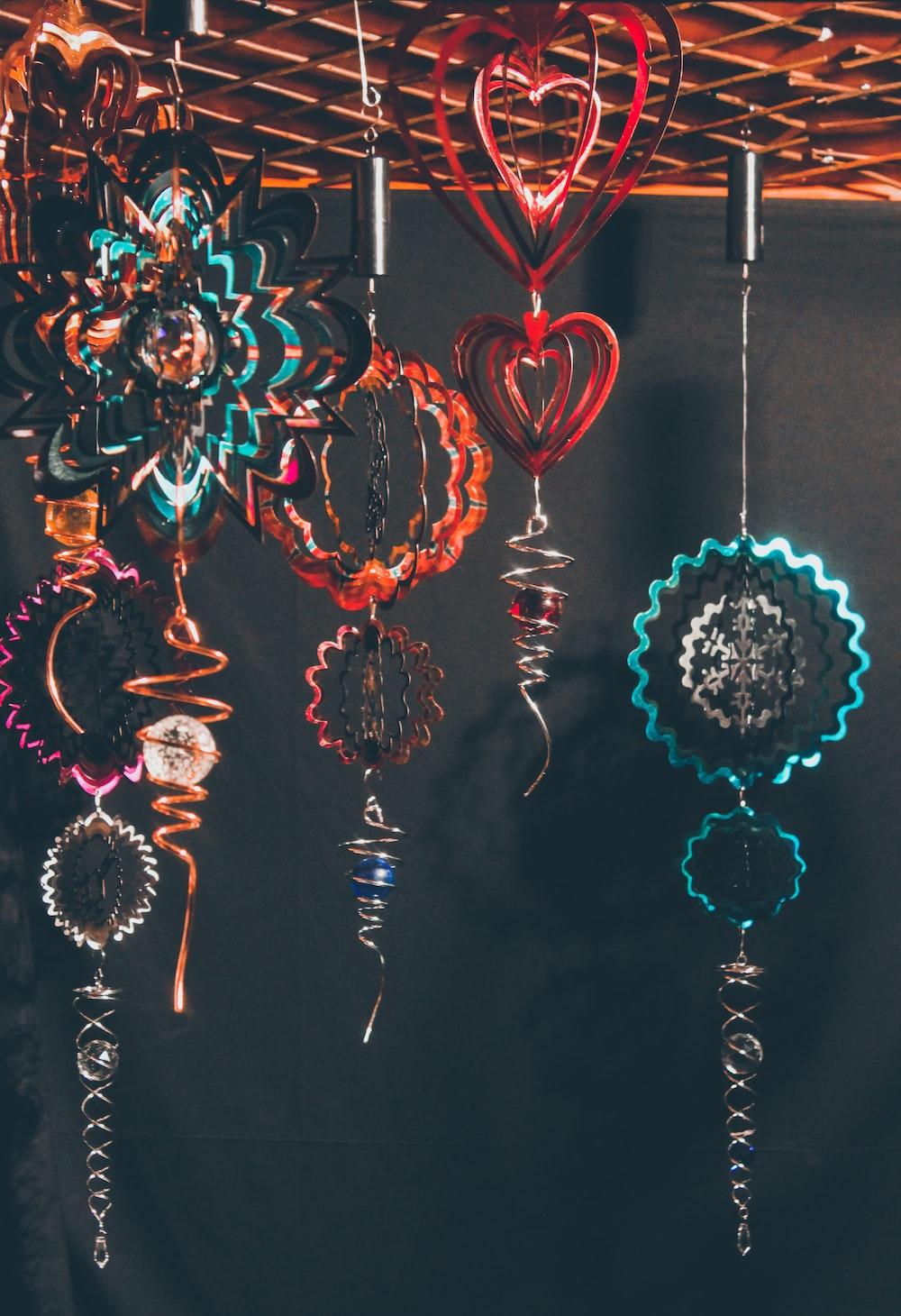 six assorted-color pendant decors