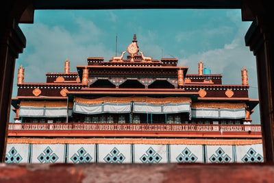 brown and white structure buddhist temple zoom background