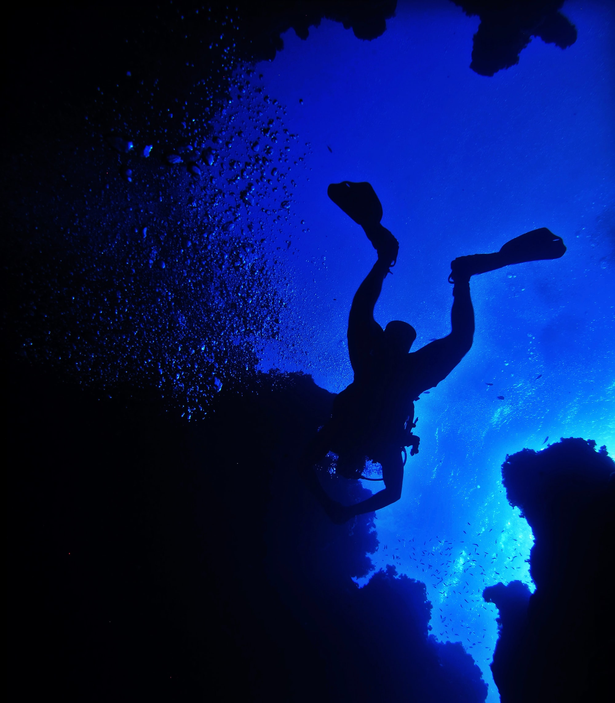 A fellow diver arising from the Canyon cave at Dahab, Egypt. For more exclusive photos, check my instagram page✌️  @nariman.mesharrafa